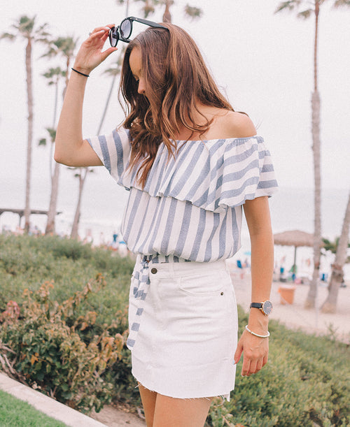 Blue & White Striped Off-the-Shoulder Crop Top