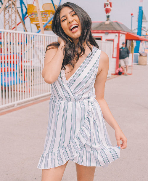 Blue & White Striped Ruffle Wrap Dress