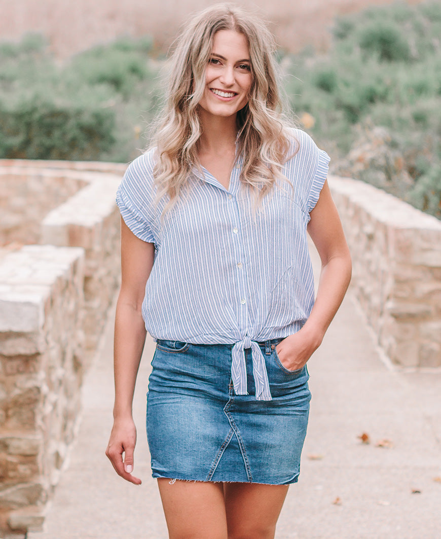 Blue Striped Short Sleeve Tie Front Top