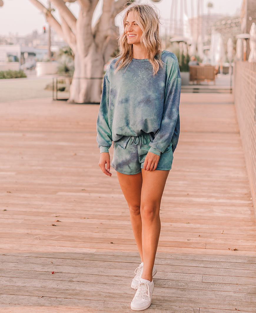 Indigo & Teal Tie Dye Lounge Top (15304T)
