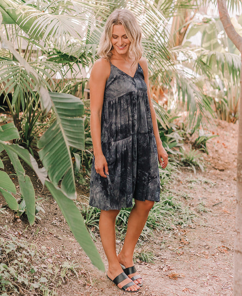 Indigo Nights Tie Dye Strappy Dress (ID30400C)
