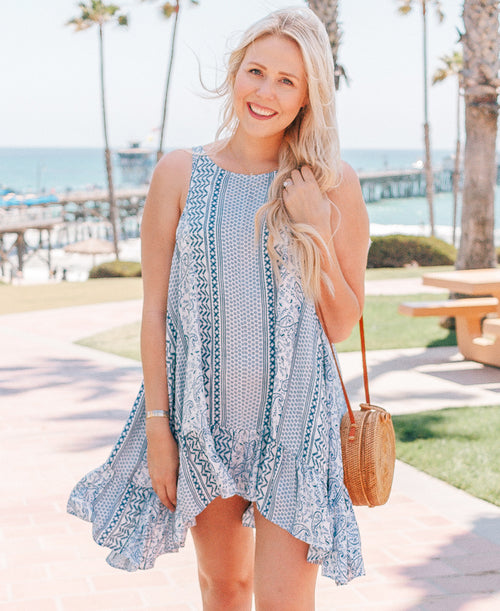 Blue & White Printed Ruffle Hem Dress
