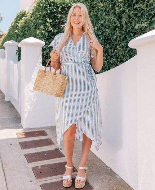Blue & White Striped 'Dorine' Wrap Dress