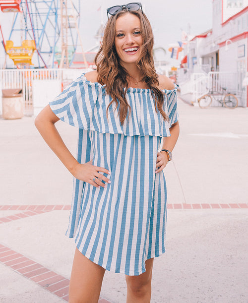 Blue & White Striped Off-the-Shoulder Dress