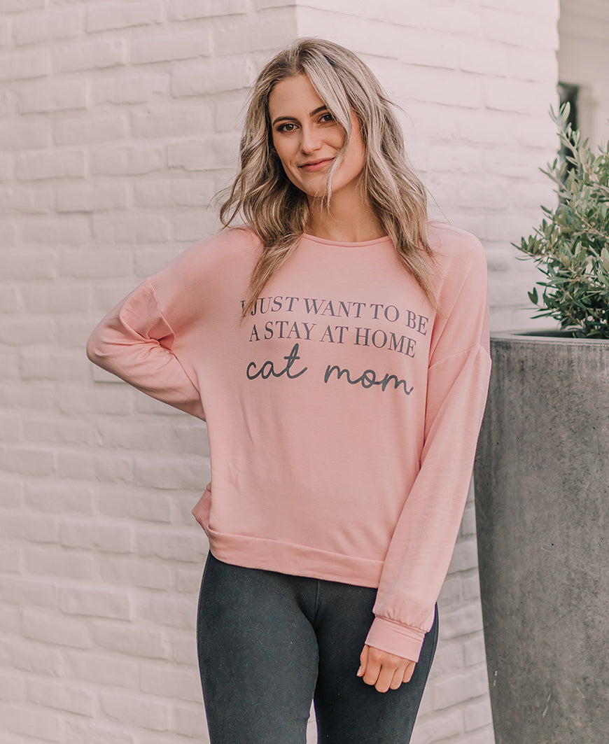 Blush Cat Mom Sweatshirt Top (15089)