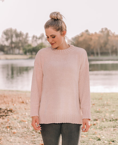 Blush Crewneck Chenille Pullover Sweater (90100)