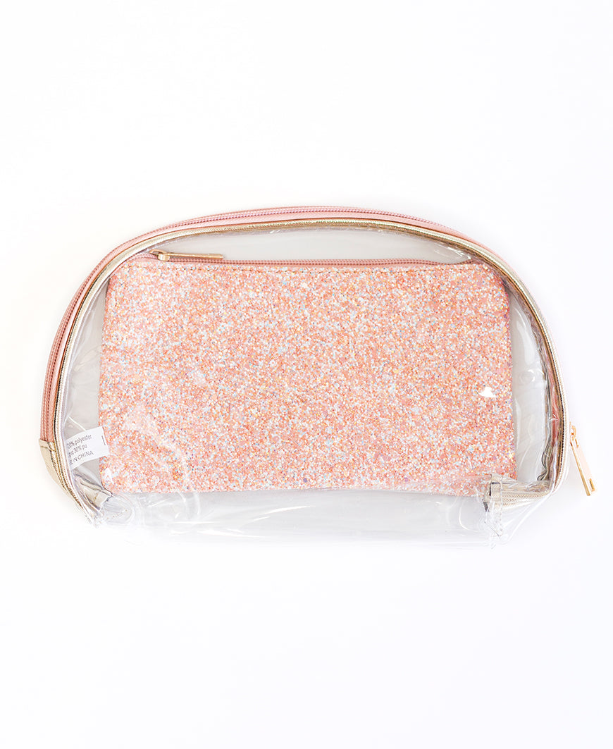 Rose Gold Glitter 2-Piece Cosmetic Bag Set
