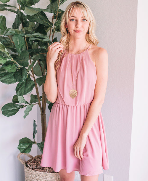 Blush Blouson Chiffon Skater Dress
