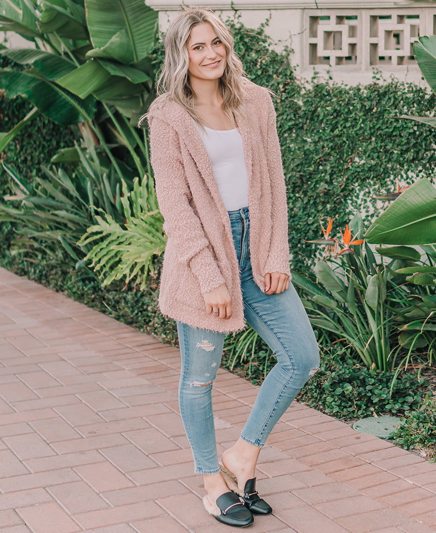 Blush Fuzzy Hooded Cardigan (52338)