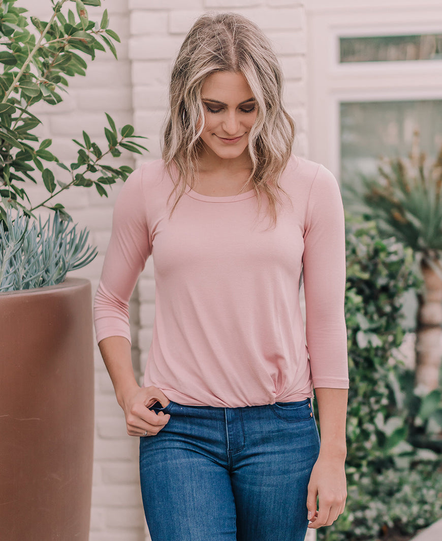 Dusty Pink 3/4 Sleeve Knot Top (14986-550)