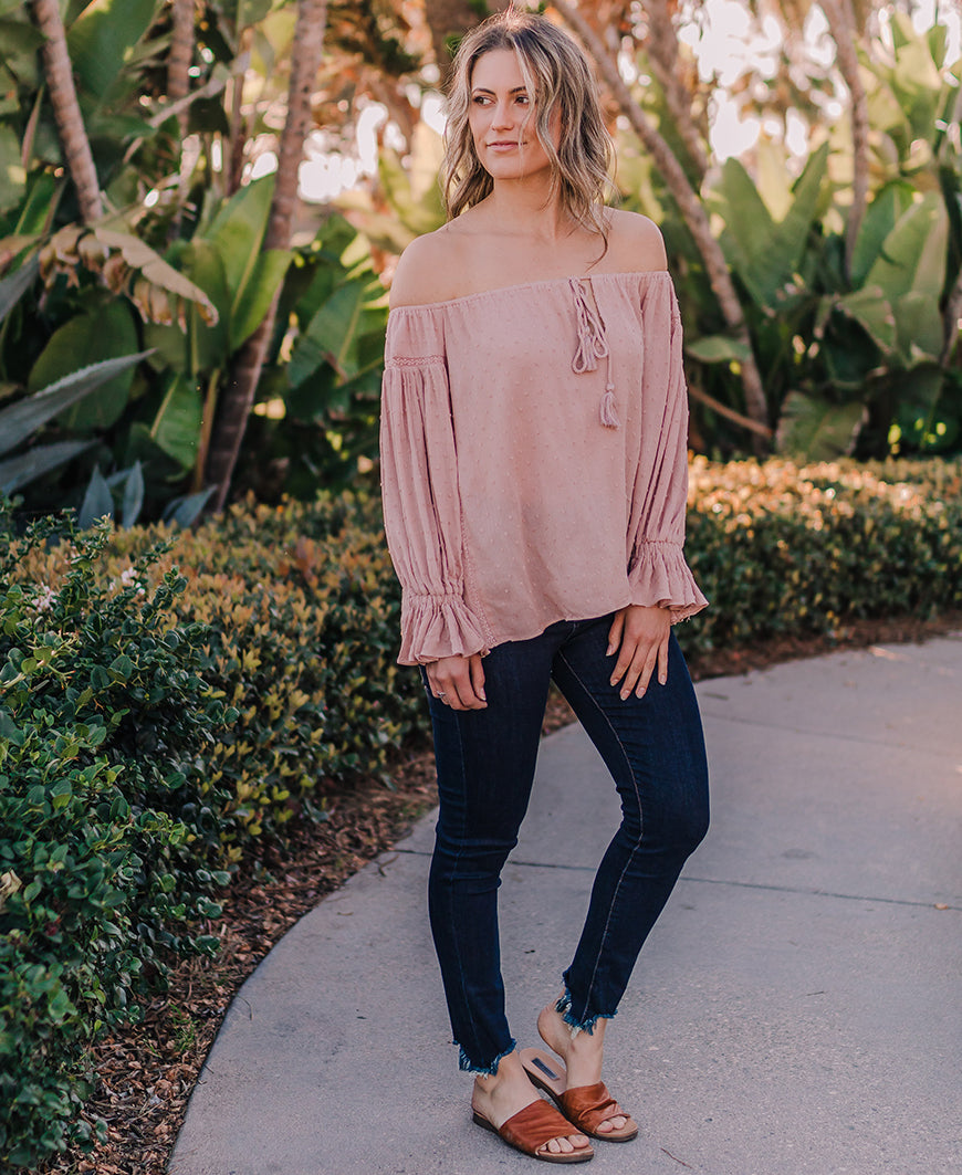 Blush Off the Shoulder Blouse (S16250)