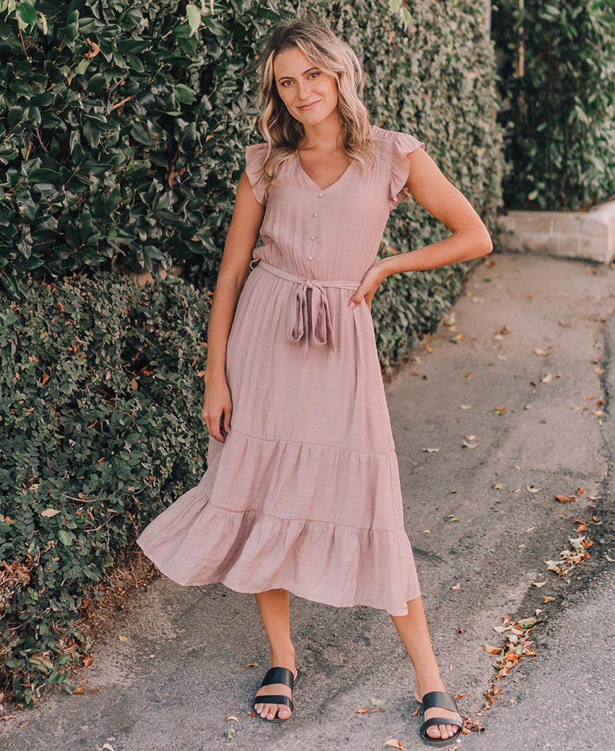 Blush Ruffle Sleeve Midi Dress (EM6435)