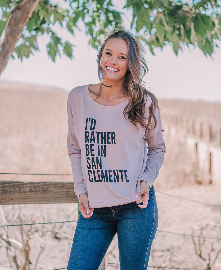 Dusty Pink San Clemente Graphic Sweatshirt Top (D17J157SC)