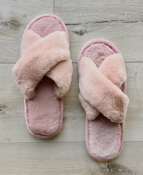 pink blush faux fur plush criss crossband slippers house shoes work from home cozy warm footwear