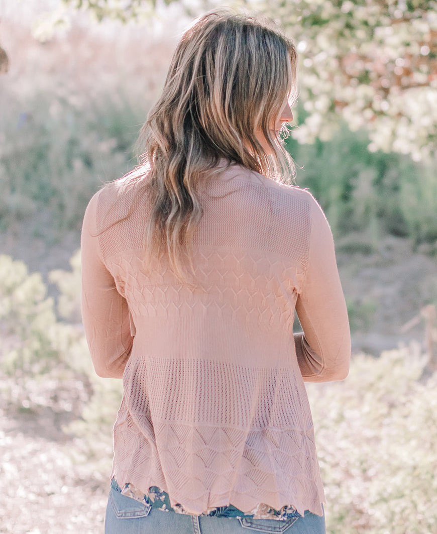 Blush Pointelle Open Cardigan (T3633)