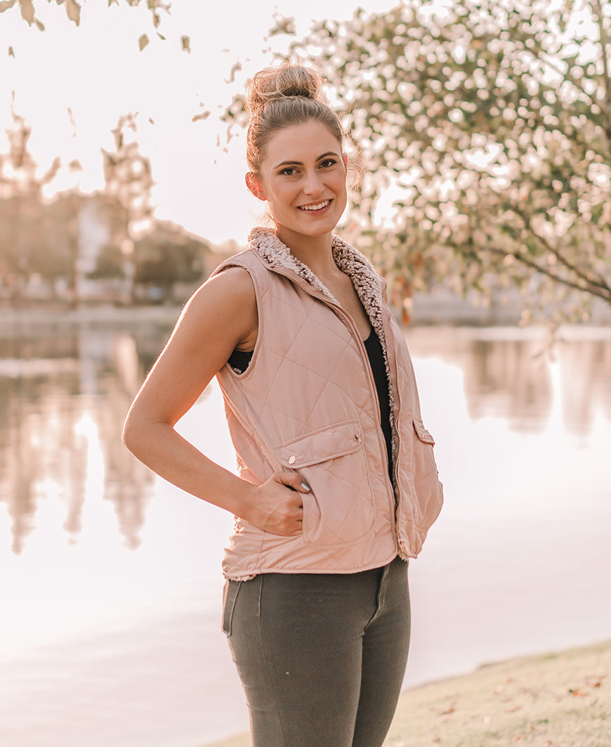 Blush Sherpa Lined Vest (7256G)