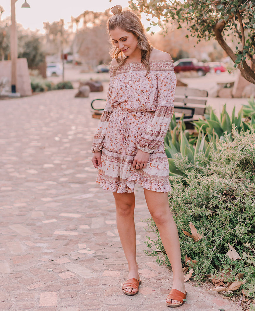 Boho Smocked Off Shoulder Dress (I-71893W)