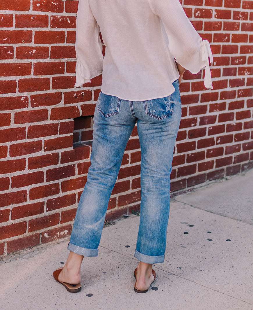 Medium Wash Distressed Boyfriend Jeans (P7182M-SA)