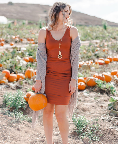 Rust Fitted Tank Dress