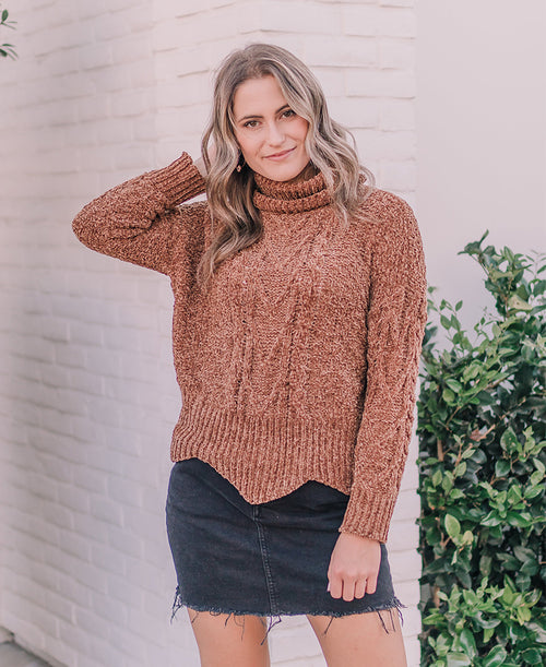 Camel Chenille Turtleneck Sweater (T38687)