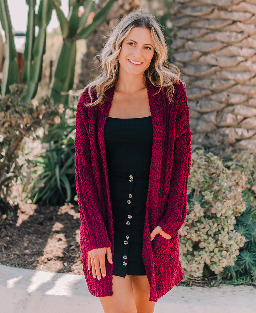 Burgundy Soft Open Pocket Cardigan (HR3272)