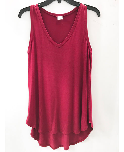 Burgundy V-Neck Tank Top