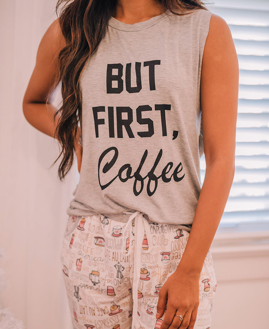 But First, Coffee Gray Muscle Tank (RT3359H-0537)
