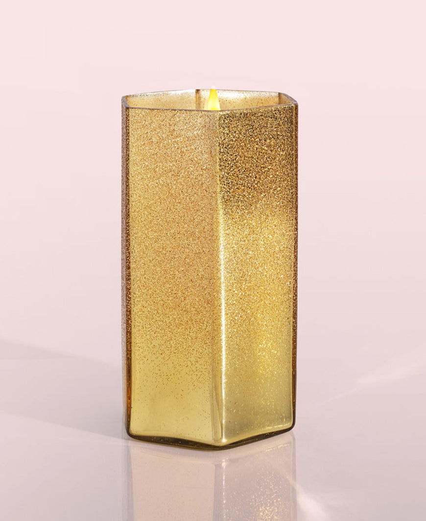 Volcano Gold Glitz Hexagon Candle, 17 oz