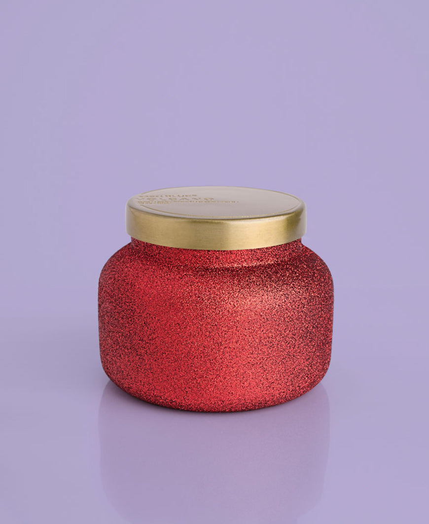 red glitter christmas holiday gift capri blue volcano candle