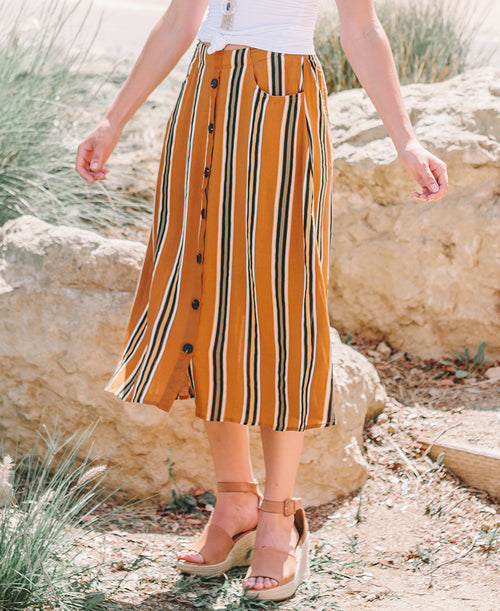 Camel Striped Button Down Skirt