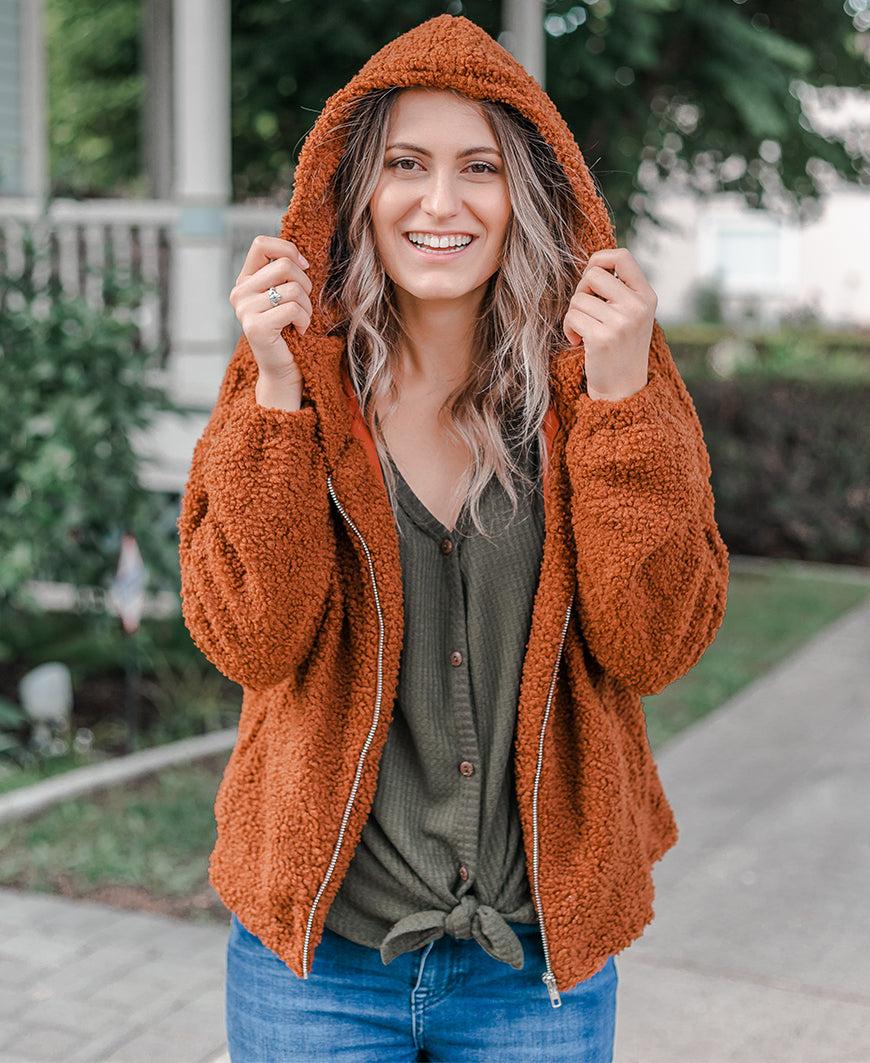 Camel Zip Up Fuzzy Jacket