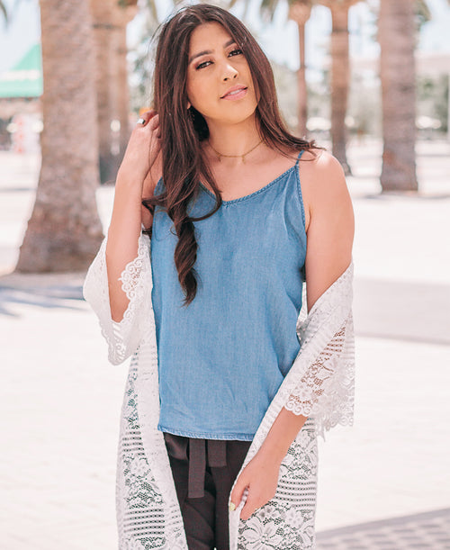 Chambray Bow Back Tank