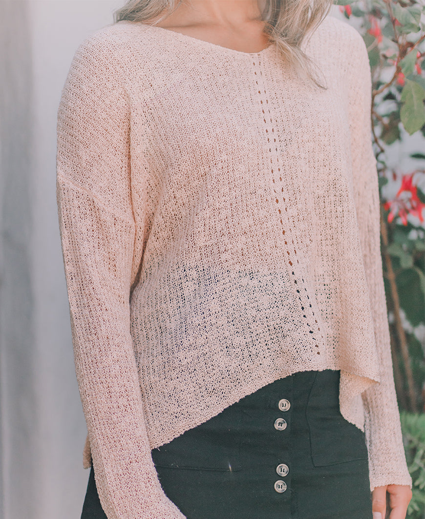Champagne Loose Knit Pullover Sweater (61294)