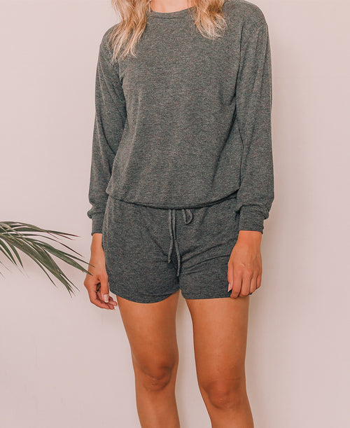 Charcoal French Terry Lounge Shorts (C19H17)