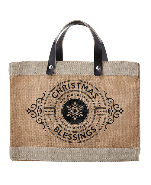 Christmas Blessings Straw Market Tote (G1333)