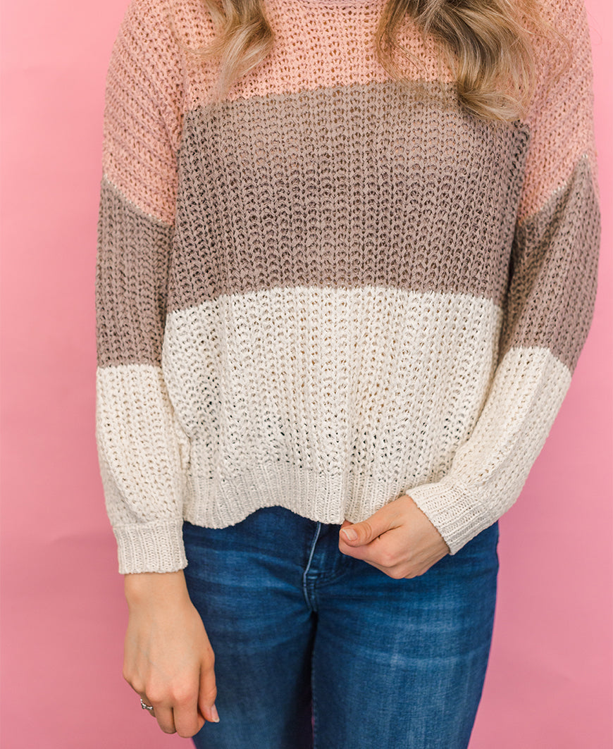 Bubble Sleeve Colorblock Knit Sweater (SL9610)