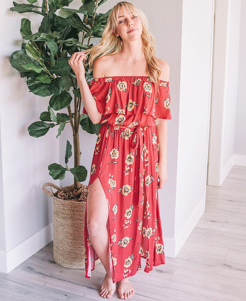 Coral Floral Print Off-the-Shoulder Maxi Dress