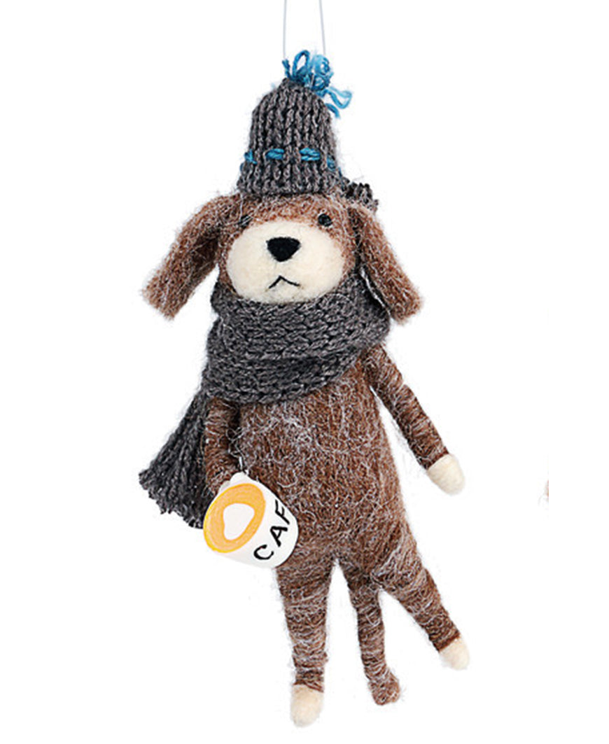 Brown Beanie Dog Ornament (2020190101)