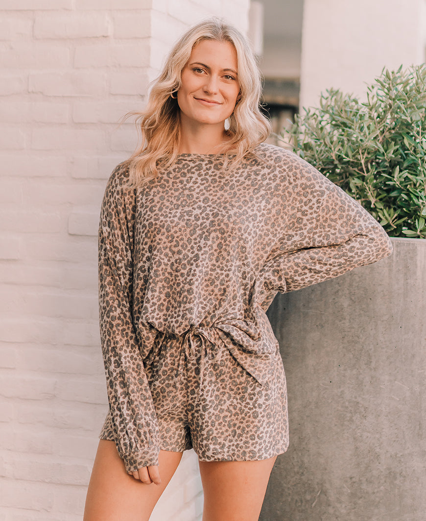 Leopard Print Oversized Lounge Top (15304T)