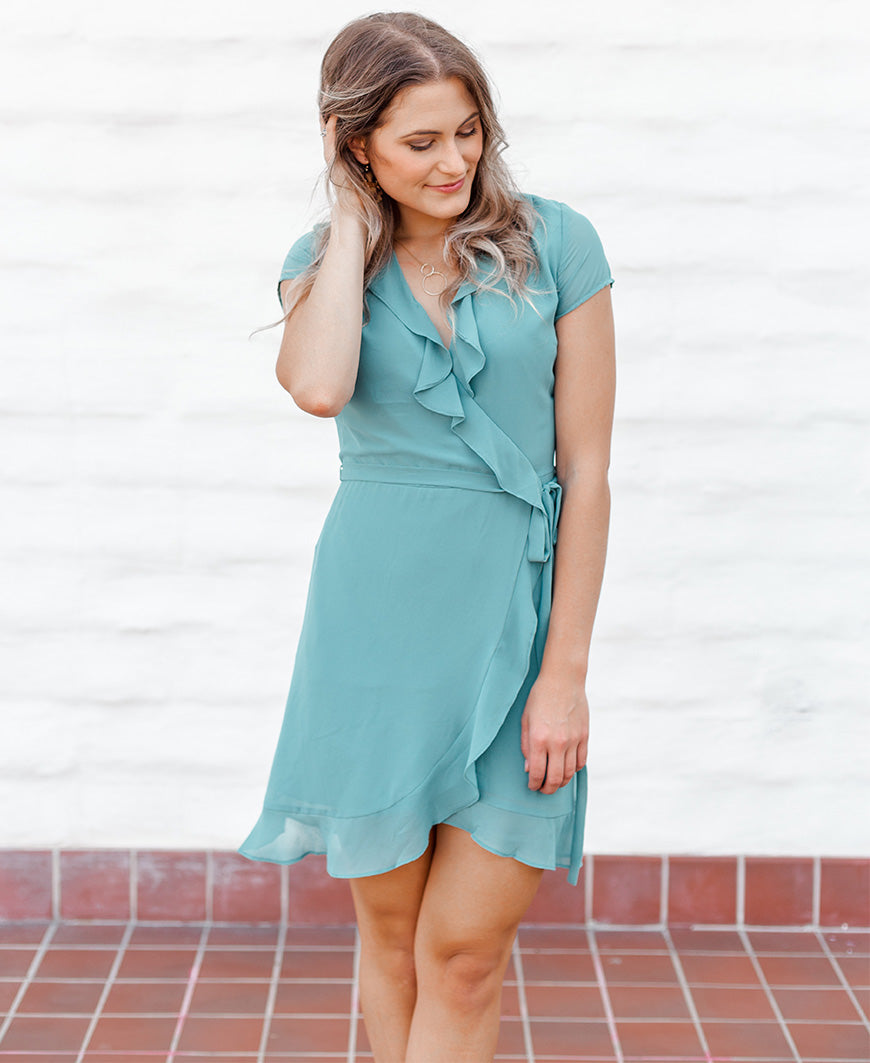 Deep Sea Ruffle Wrap Dress