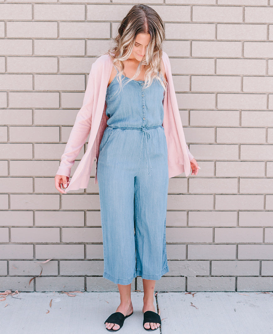 Light Denim Cropped Jumpsuit