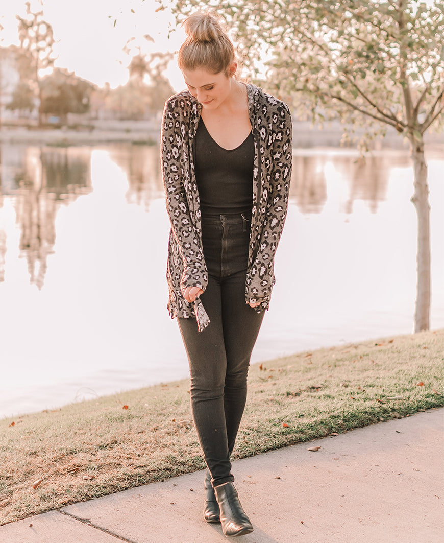 Charcoal Gray Leopard Hooded Cardigan (14987)