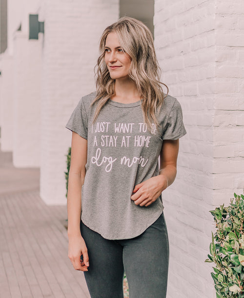Gray Stay at Home Dog Mom Graphic Tee (15087)