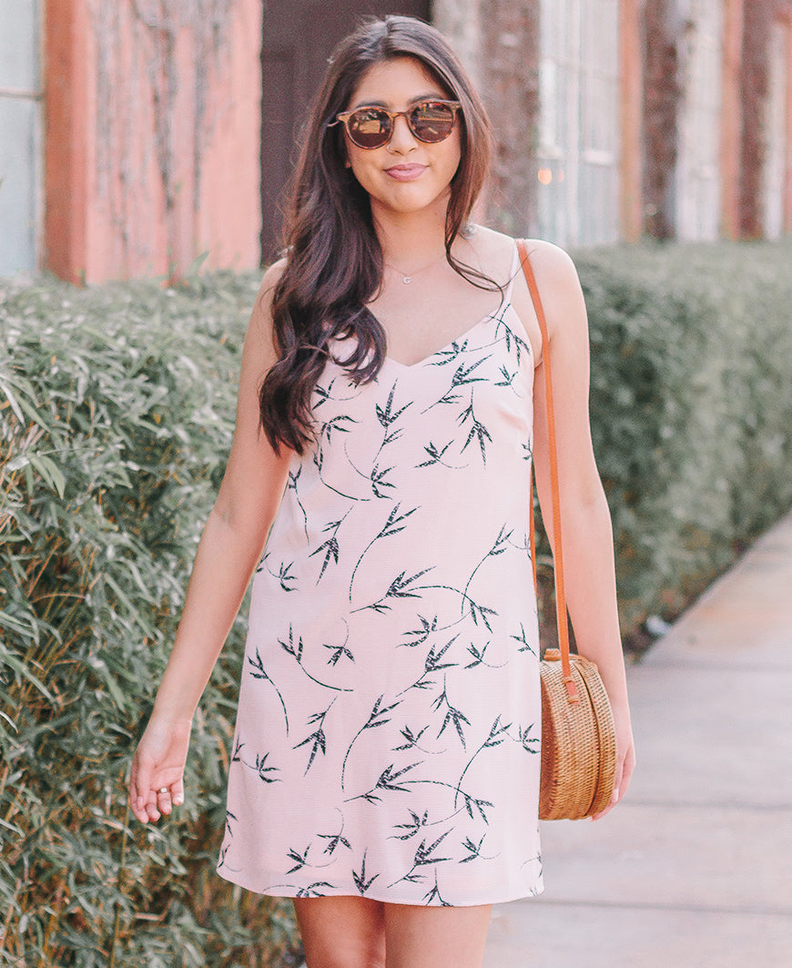 Dune Leaf Iris Bow Back Dress