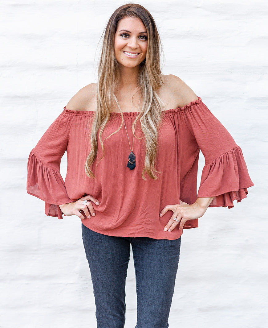 Dusty Brick Flowy Bell Sleeve Off-the-Shoulder Blouse