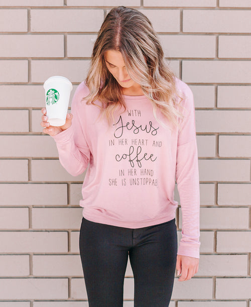 Dusty Pink Jesus & Coffee Sweater