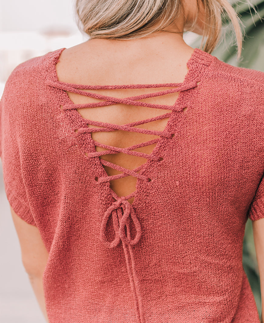 Dusty Rose Lace Up Back Sweater Top (TB5428)