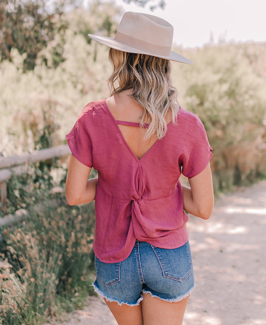 Dark Mauve Short Sleeve Twist Back Top (EM5448)