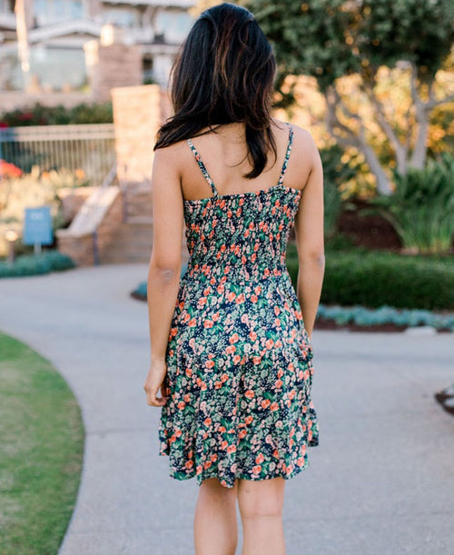 Navy Floral Twist Front Dress