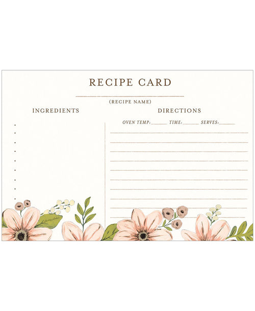 Floral Recipe Card Set